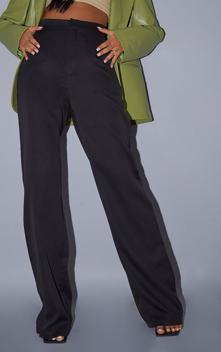 Tall Black Pocket Detail High Waisted Wide Leg Trouser 4