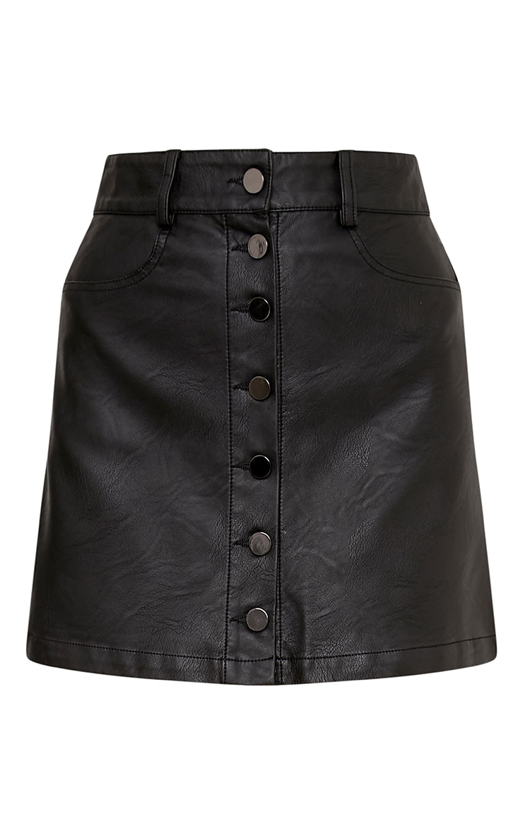 Ayanna Black Faux Leather Button A-Line Mini Skirt 3