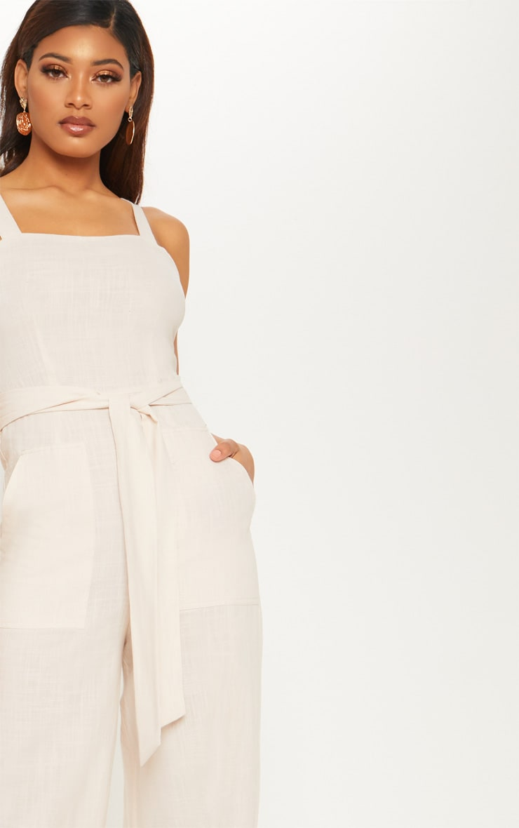 Tall Stone Woven Straight Neck Belted Jumpsuit 5