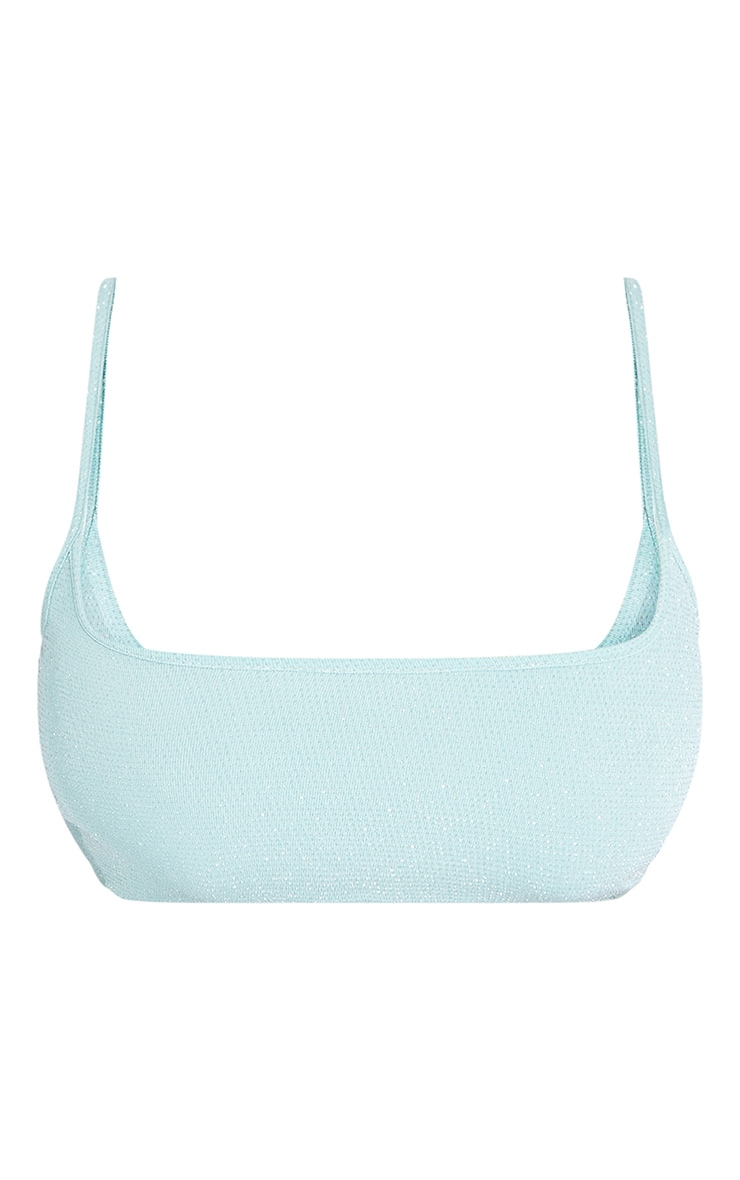 Shape Sage Green Glitter Cut Out Strappy Crop Top 5