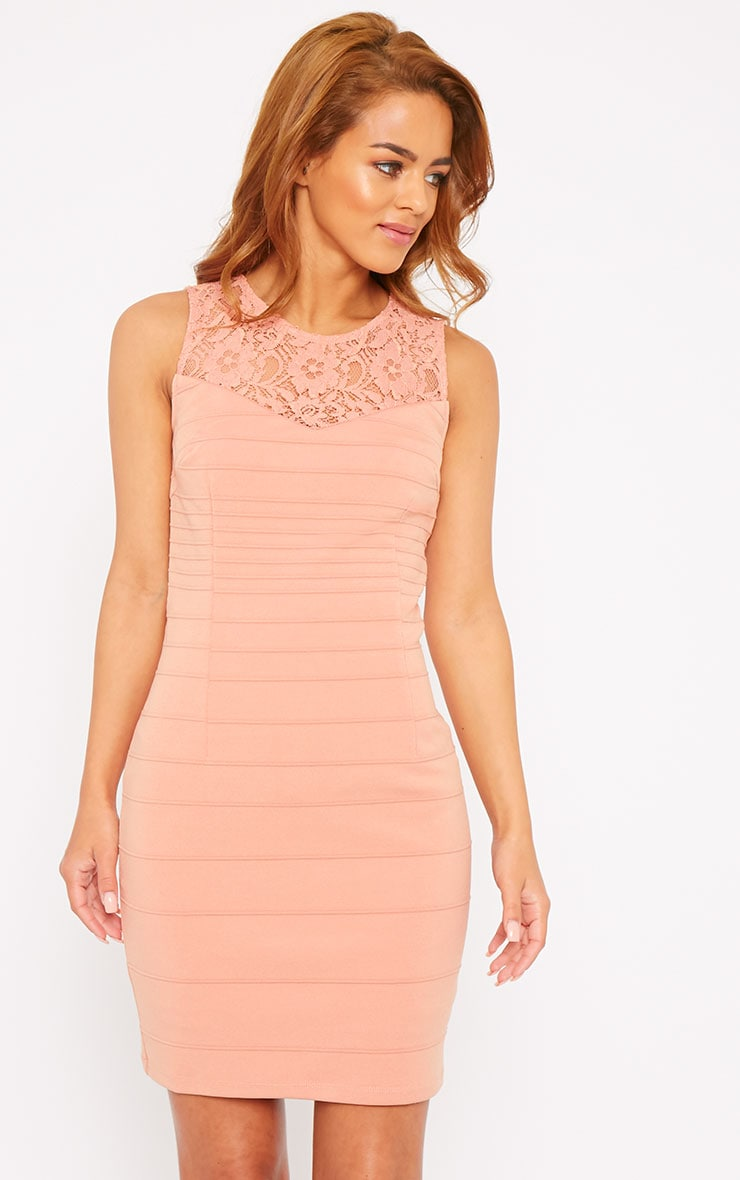 Primrose Peach Lace Top Bandage Dress 4