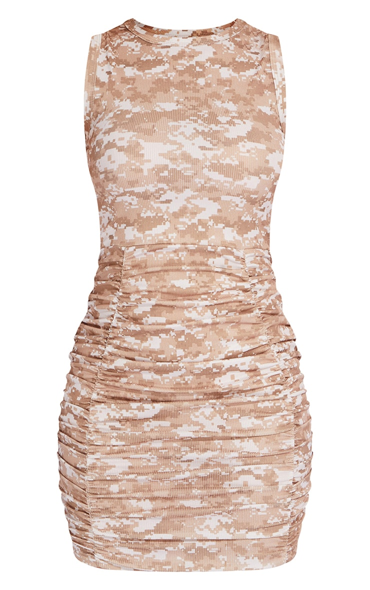 Beige Ribbed Pixel Print Ruched Sleeveless Bodycon Dress 5