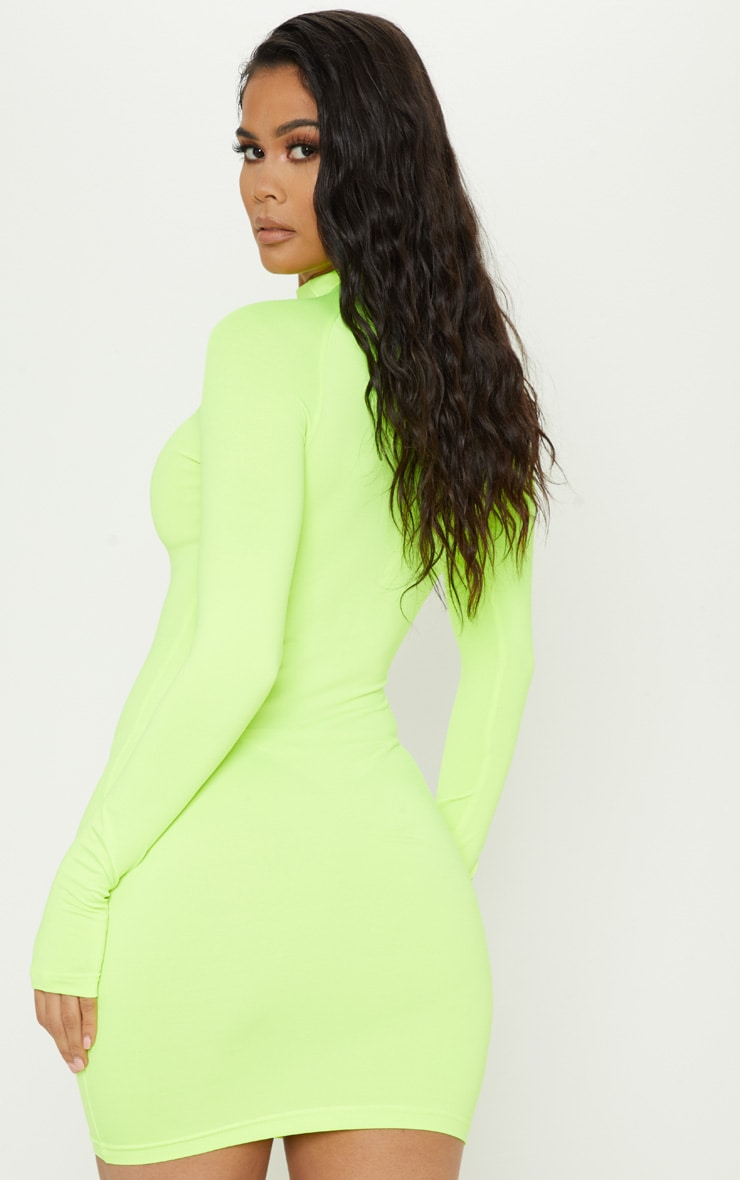 Lime Slinky Long Sleeve Zip Up Bodycon Dress 2