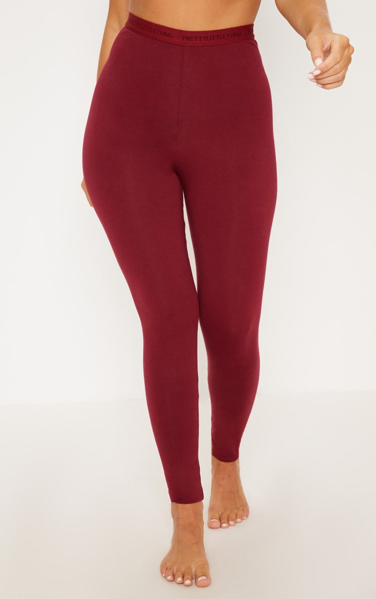 PRETTYLITTLETHING Maroon High Waisted Leggings 2
