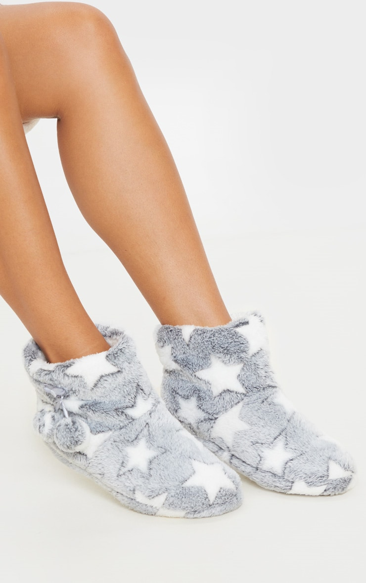 Grey Star Boot Slippers 1