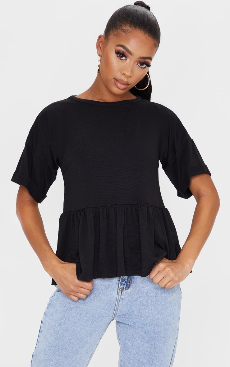 Black Frill Hem T Shirt 1