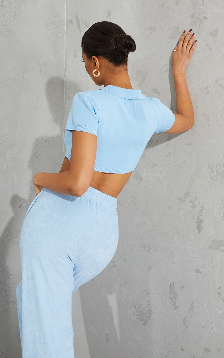 Baby Blue Collared Super Cropped Knitted Short Sleeve Top 2