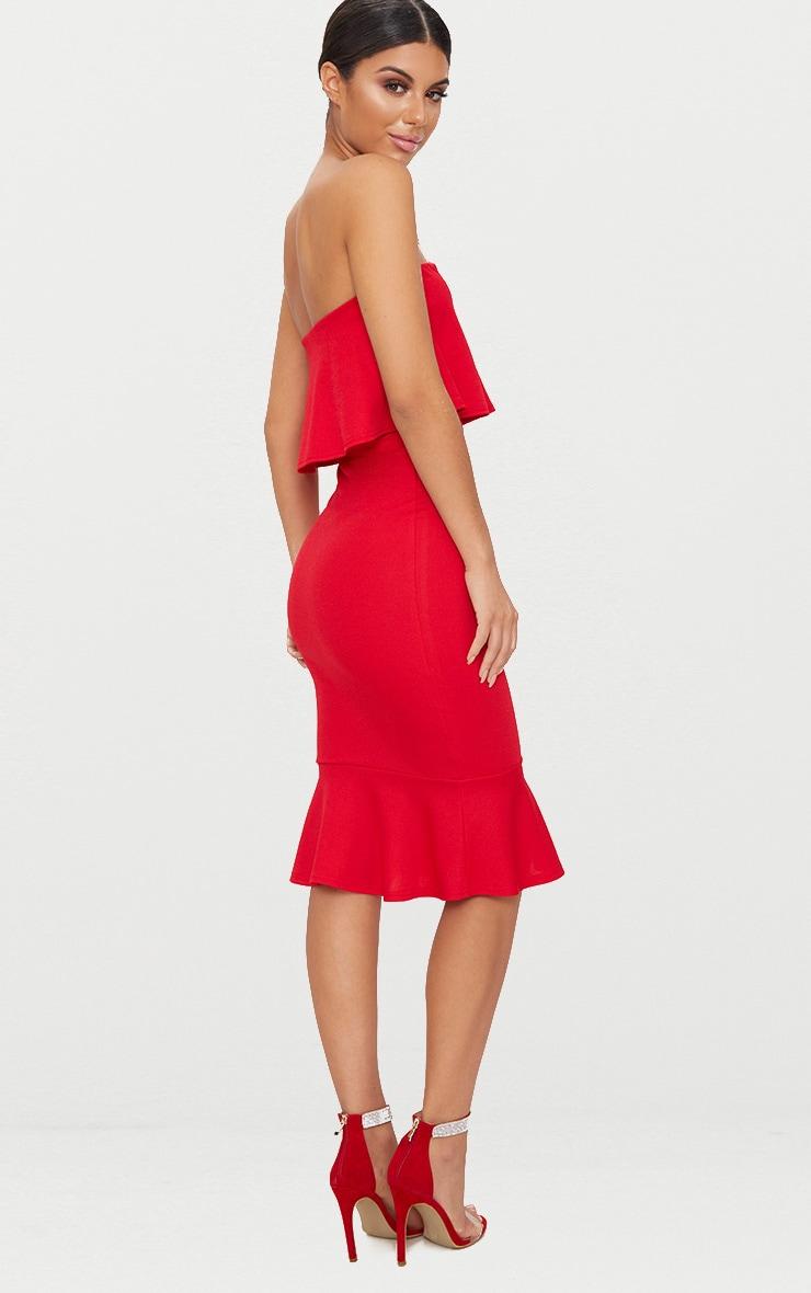 Red Bandeau V Bar Frill Hem Midi Dress 2