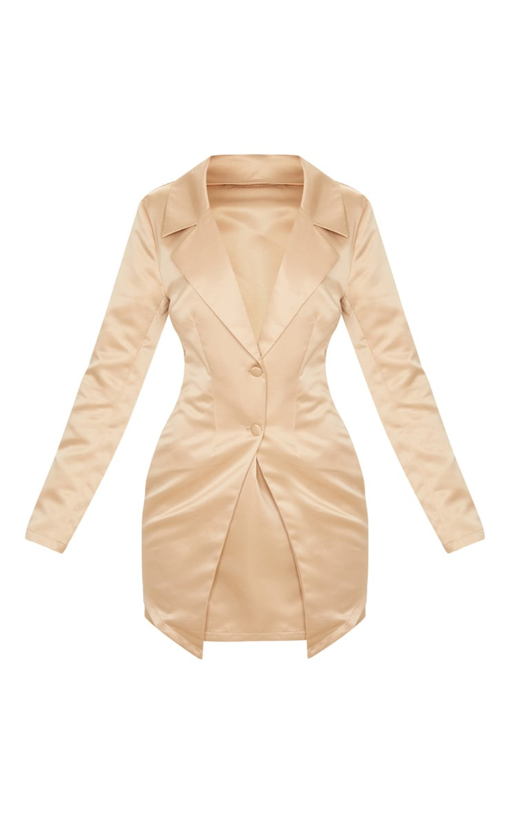 Champagne Satin Button Detail Tailored Long Sleeve Blazer Dress 3