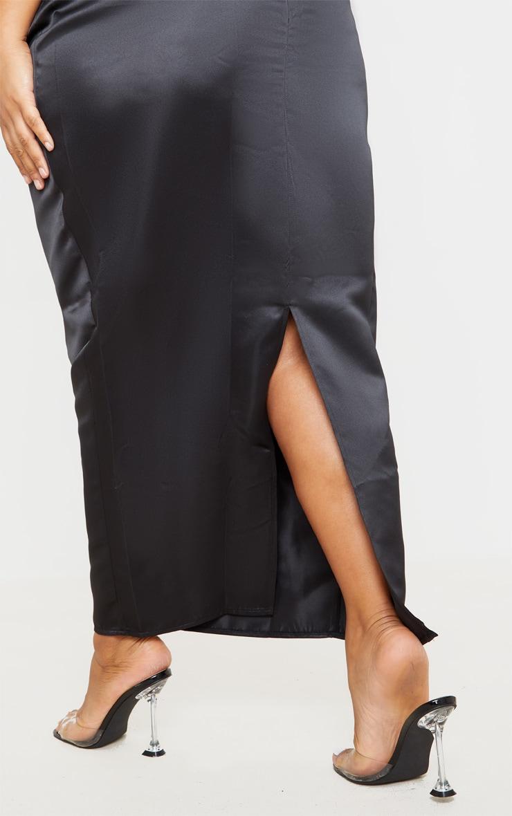 Plus Black Structured Satin Midaxi Skirt 4
