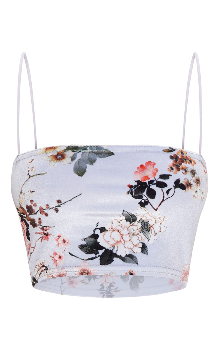 Grey Floral Velvet Strappy Crop Top 3