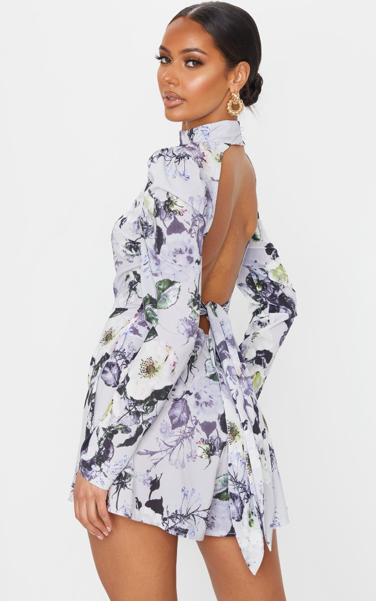 Grey Floral Print Backless Tie Back Playsuit 1