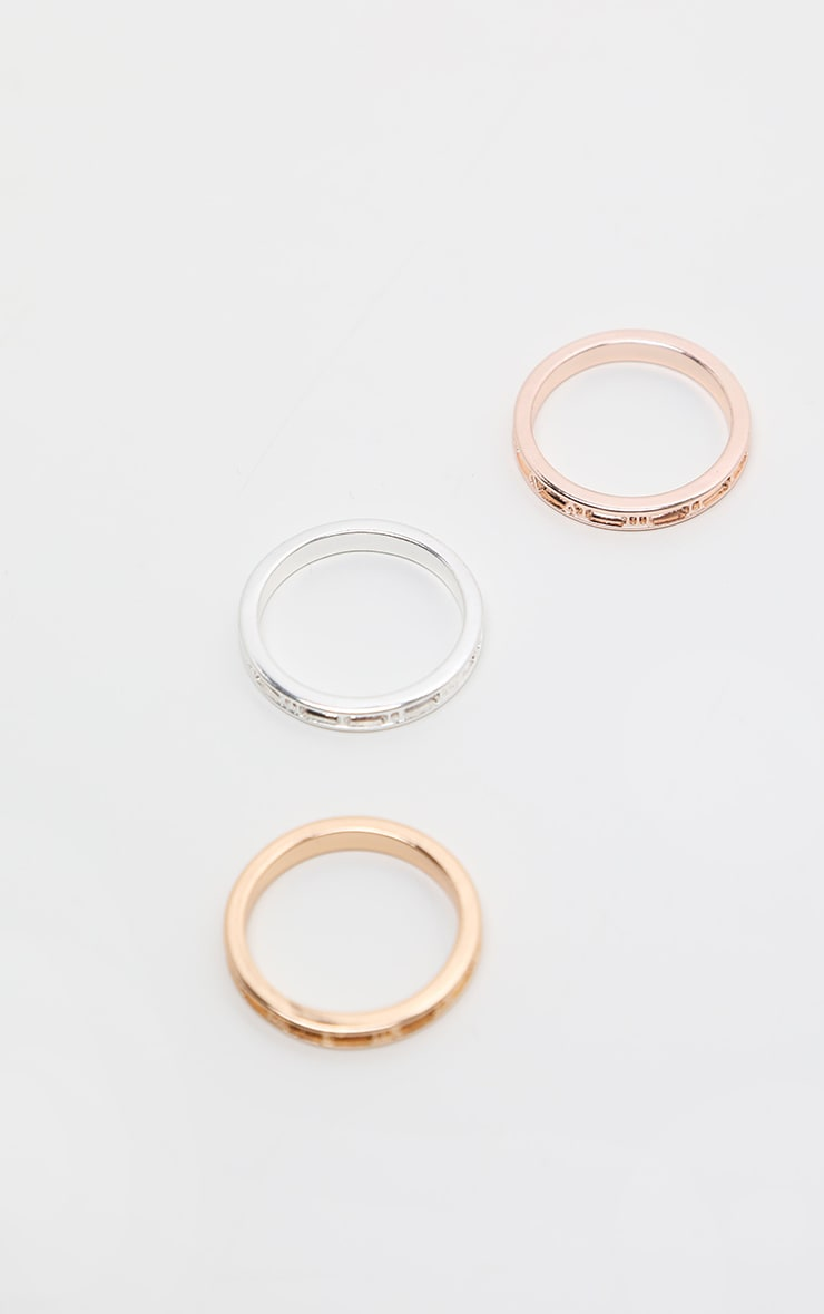 Multi Roman Numeral Skinny Ring 3 Pack 1