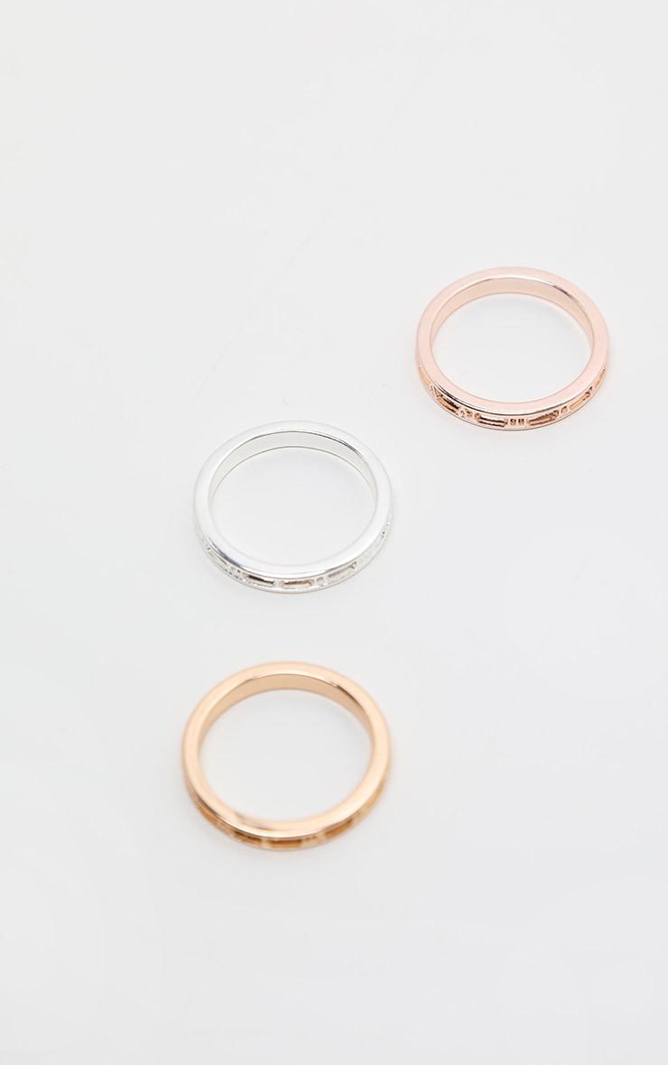 Multi Roman Numeral Skinny Ring 3 Pack 1