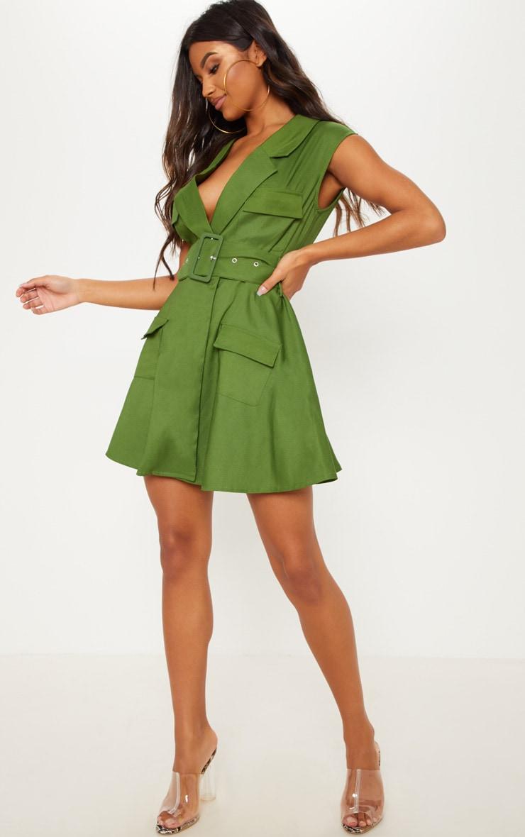 a0ed06a7db75ce Khaki Sleeveless Utility Belted Blazer Dress image 1
