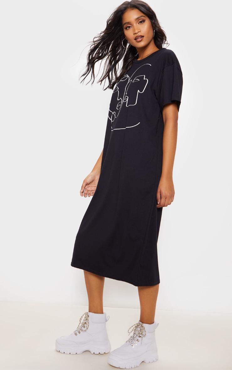 Black Abstract Faces Slogan Midi T-Shirt Dress  4