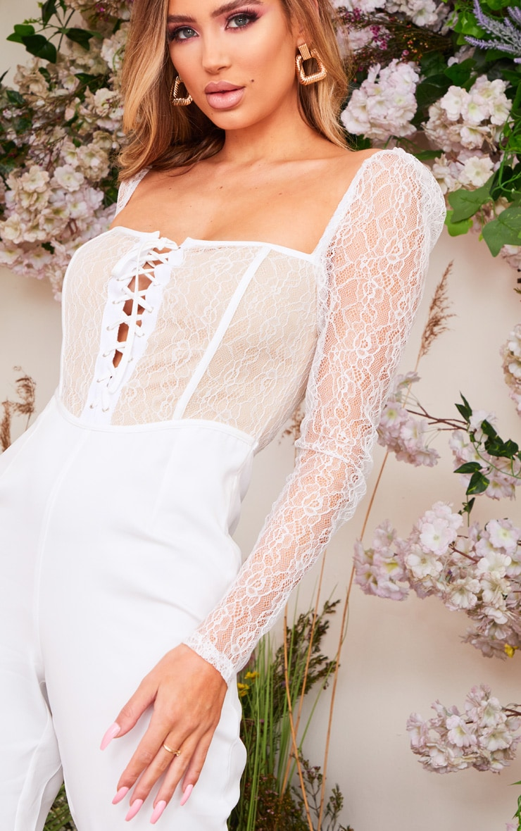 White Lace Up Lace Bodice Jumpsuit 4