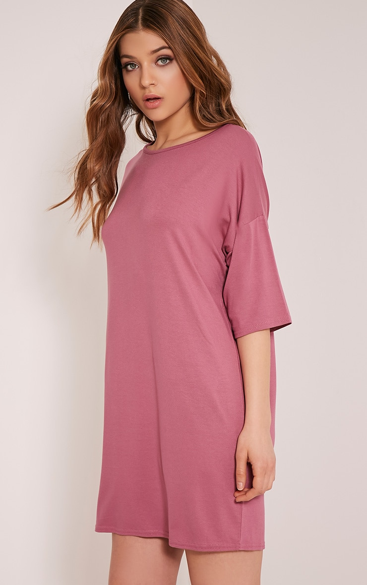 Basic Rose Drop Shoulder T Shirt Dress 4