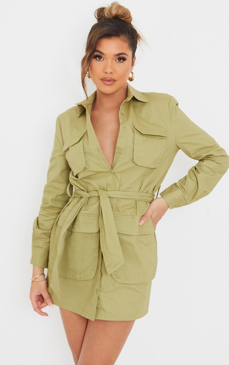 Sage Green Utility Tie Waist Shirt Dress