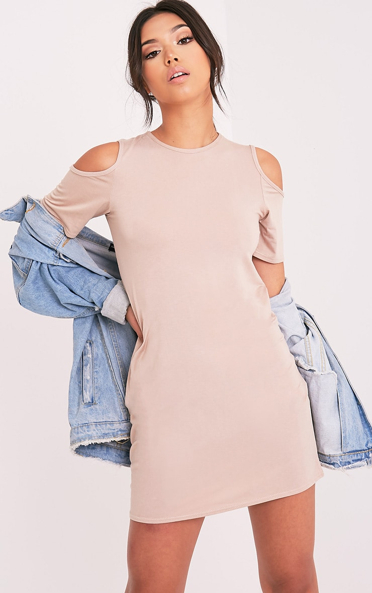 Neeka Nude Cold Shoulder T-Shirt Dress 1