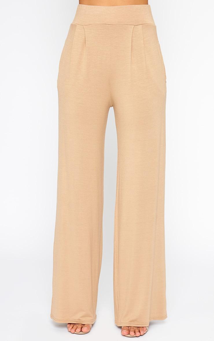 Jazlyn Camel Jersey Wide Leg Palazzo Trousers 2