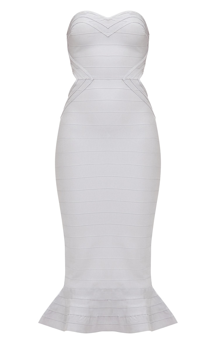 Ice Grey Ribbed Frill Hem Bandage Midi Dress 3