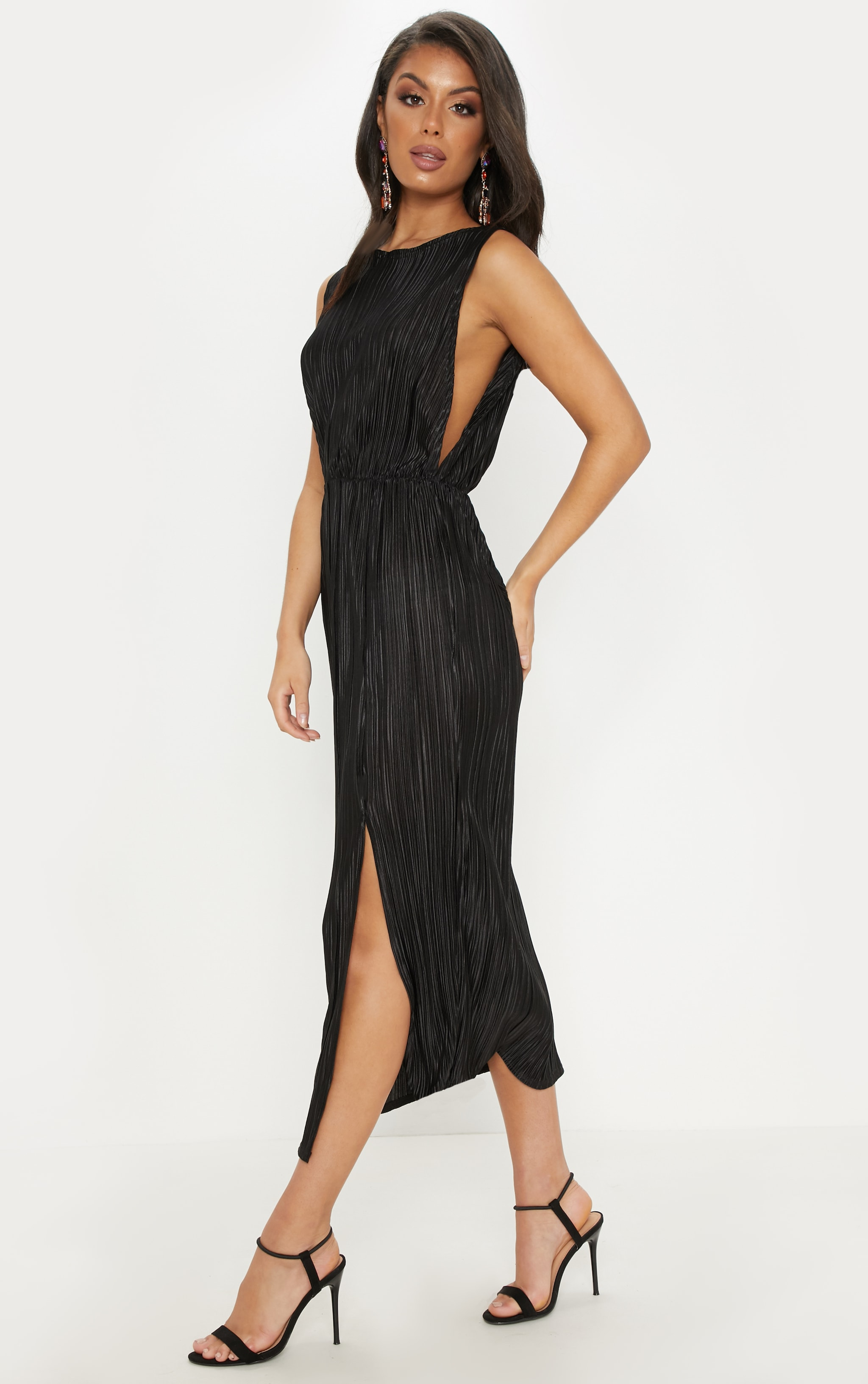 Black Plisse Slash Neck Split Detail Midi Dress 4