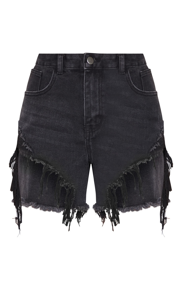 Washed Black Distressed Denim Shorts 3