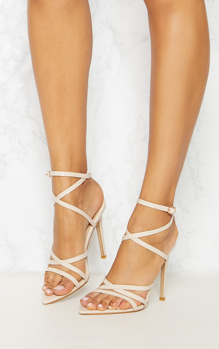 Nude Patent Strappy Point Toe Heels 2