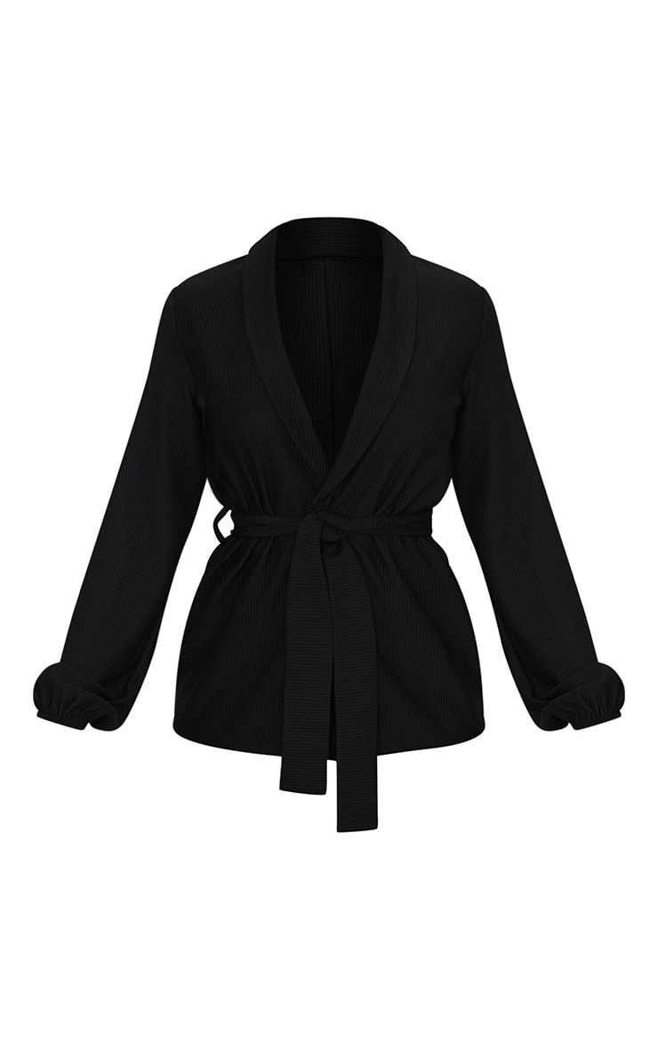 Black Wide Rib Belted Balloon Sleeve Blazer 5