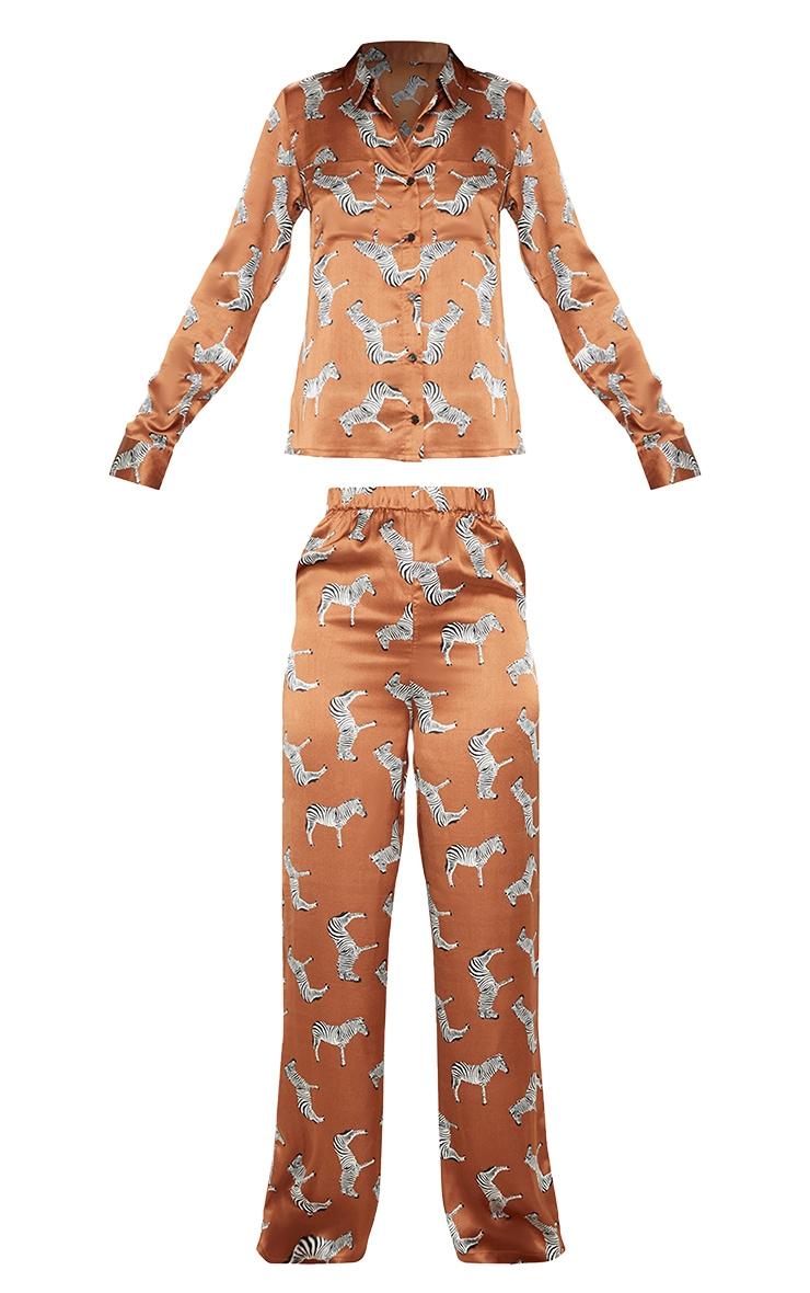 Rust Zebra Print Long Sleeve Satin Pyjama Set 3