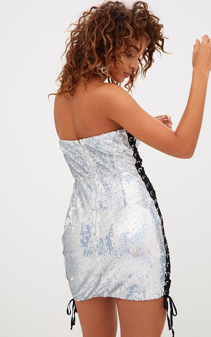 Silver Lace Up Sequin Bandeau Bodycon Dress 2