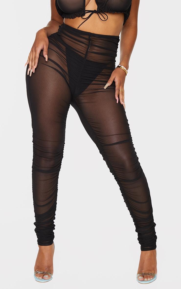 Shape Black Sheer Ruched Mesh Leggings 2