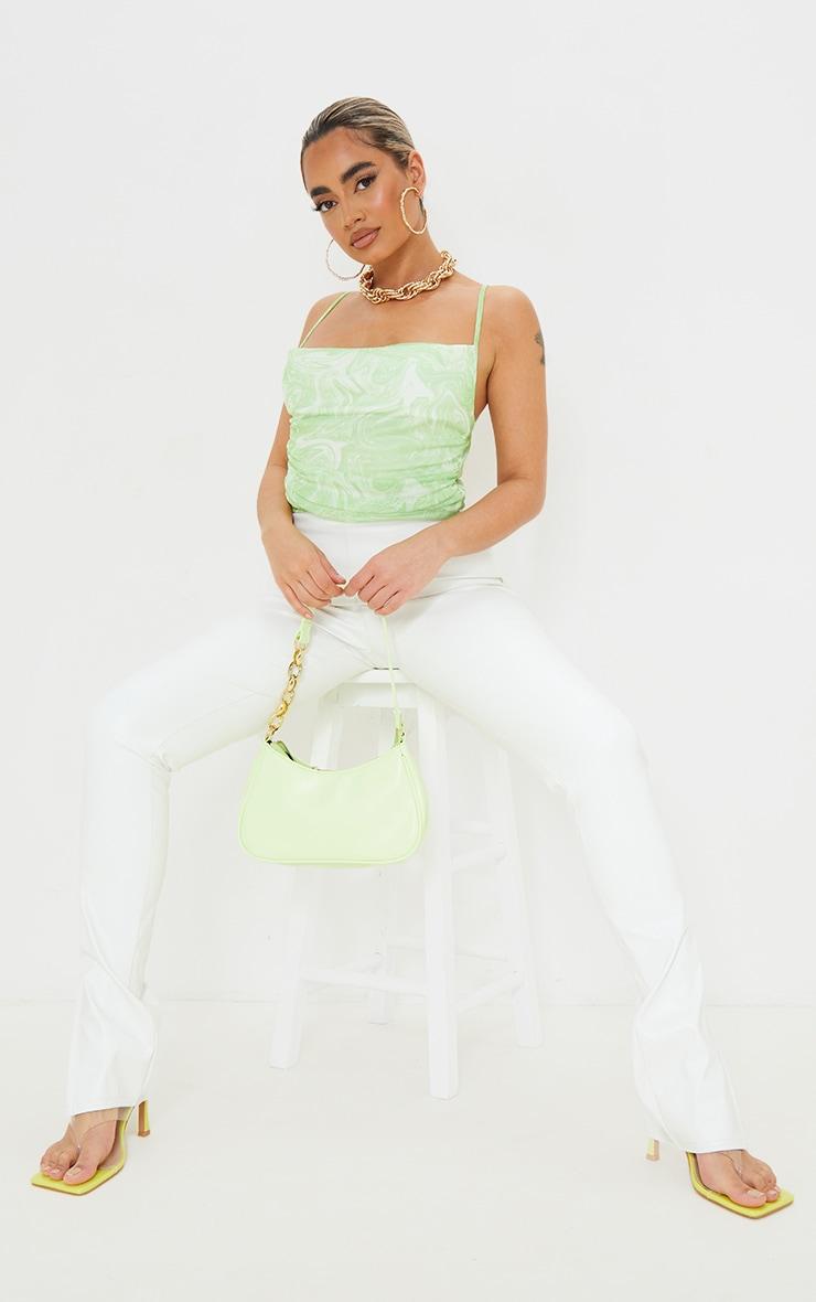 Petite Green Marble Print Mesh Cowl Neck Strappy Bodysuit 3