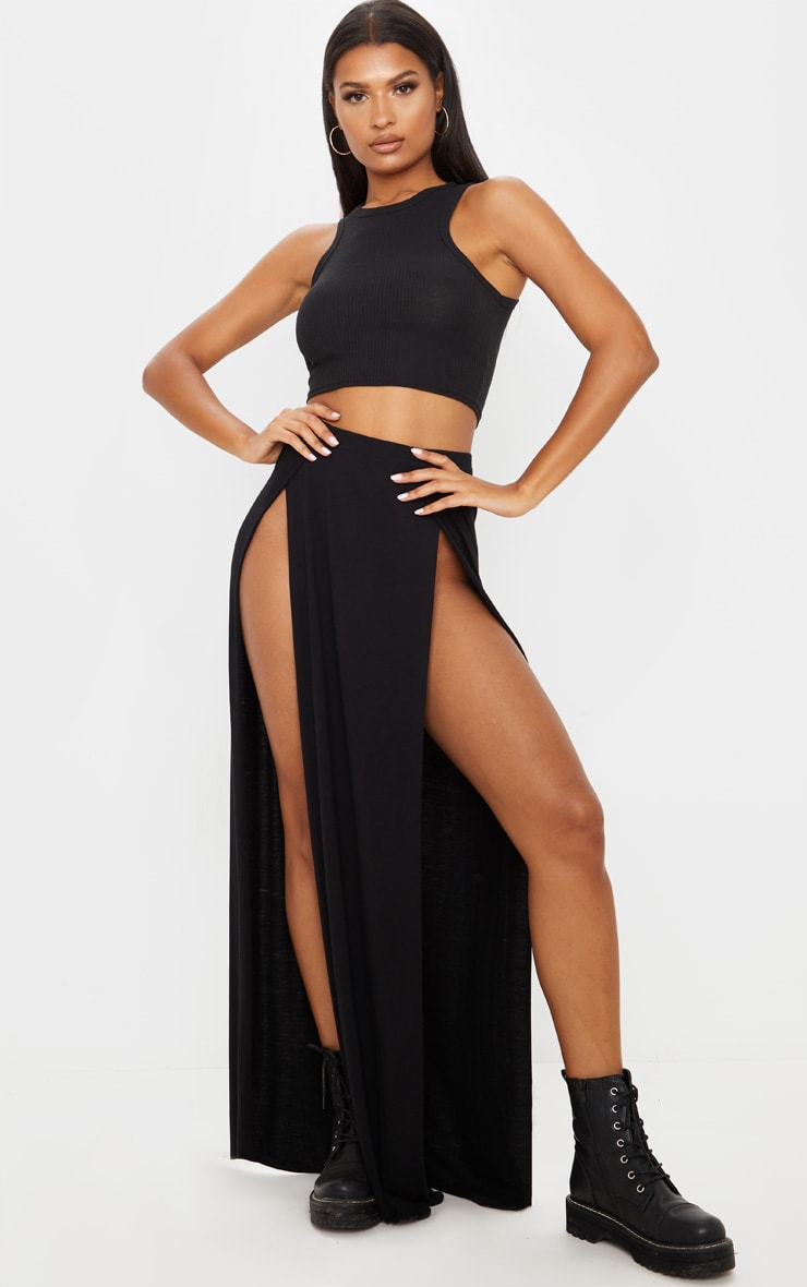 Black Double Split Maxi Skirt 1