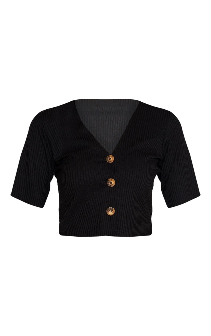 Tall Black Tortoise Button Rib Top 3