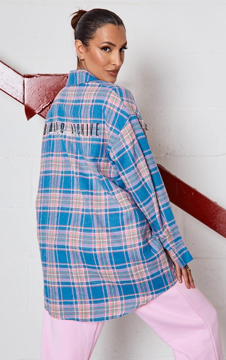 PRETTYLITTLETHING Blue Back Print Checked Oversized Shirt 2