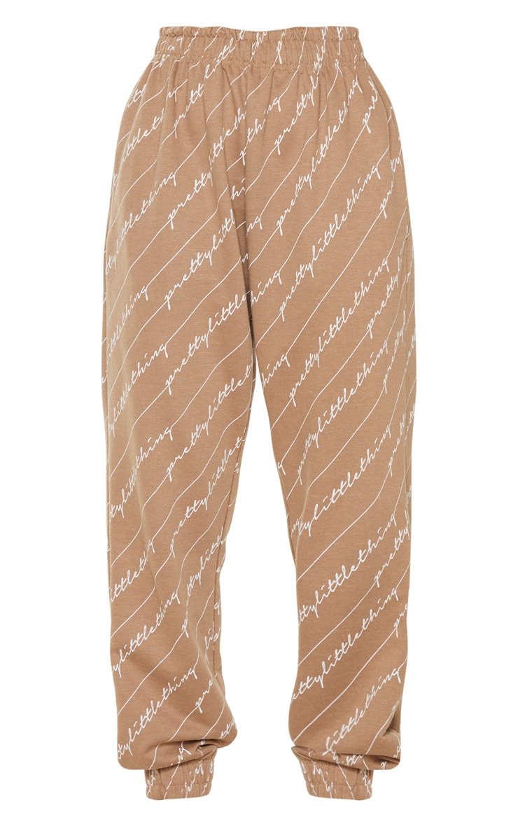 Taupe PRETTYLITTLETHING Printed Joggers 5