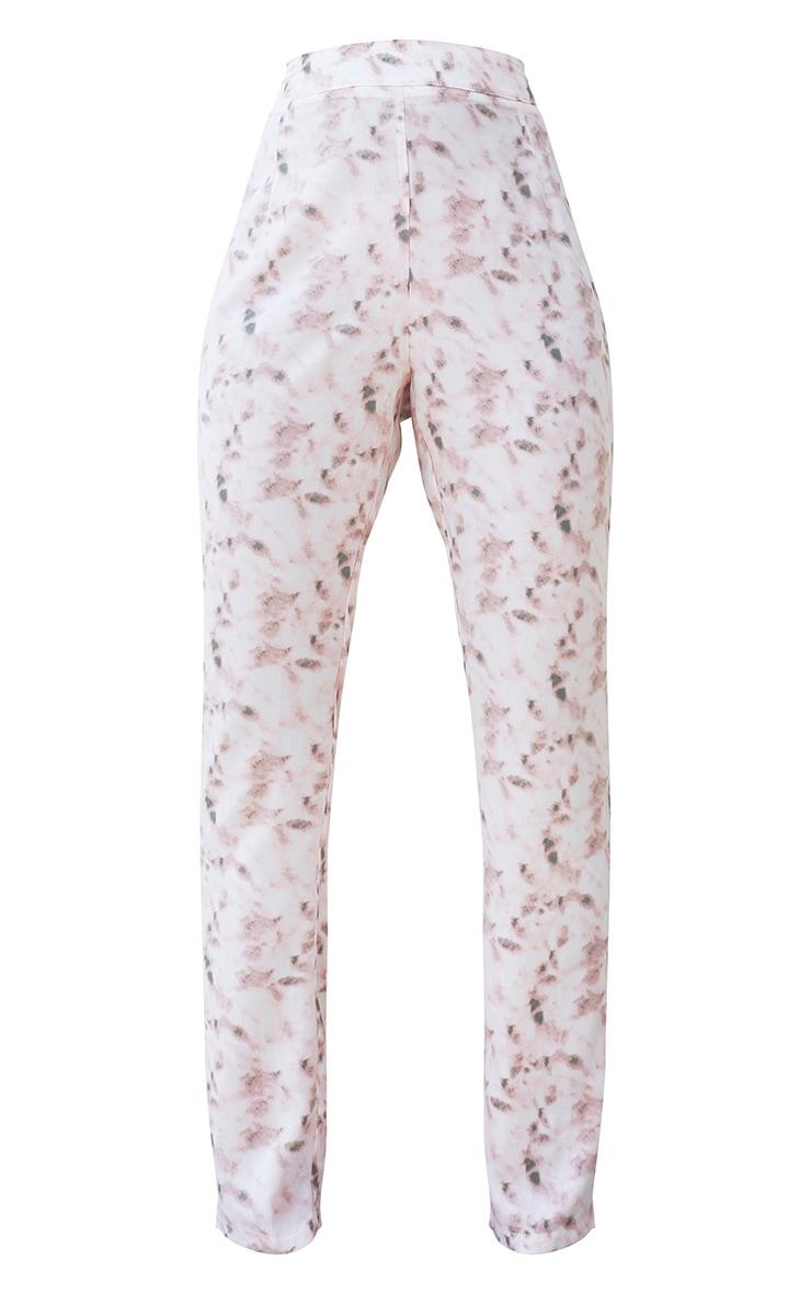 Light Pink Tie Dye High Waisted Straight Leg Trousers 5