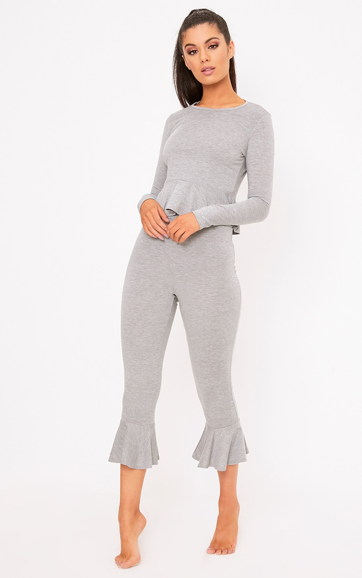 Grey Frill Detail Cropped PJ Set 4