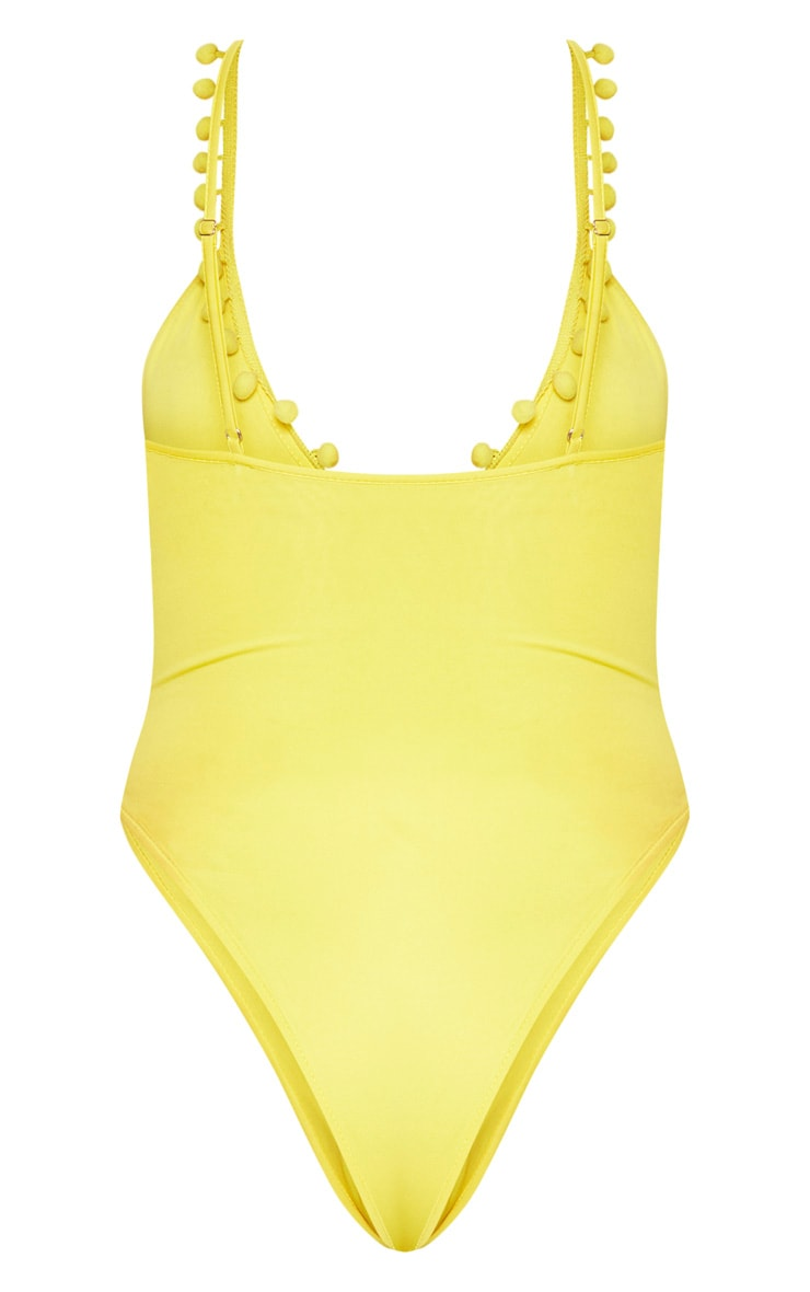 Yellow Scoop Neck Pom Pom Trim Swimsuit 5