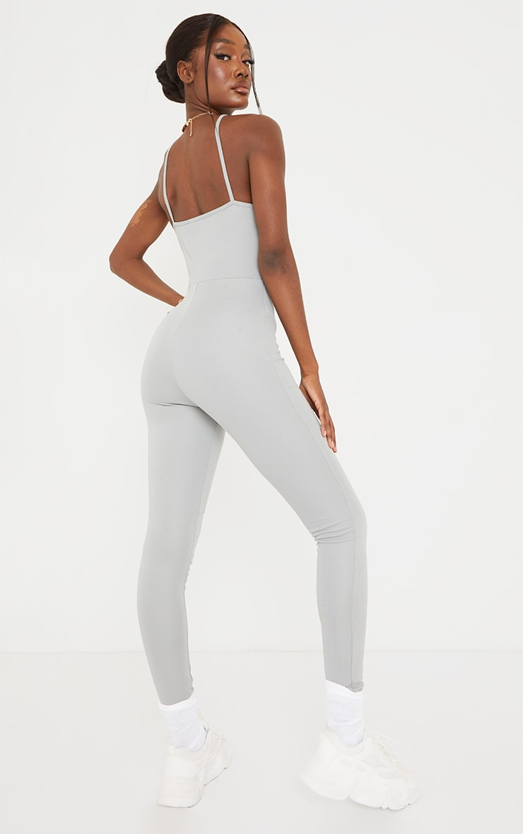 PRETTYLITTLETHING Tall Grey Strappy Contrast Seam Detail Jumpsuit 2