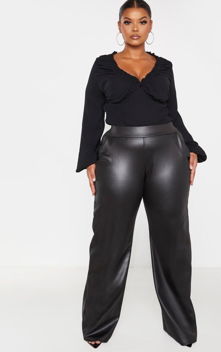 Plus Black Milkmaid Frill Cup Bodysuit  4