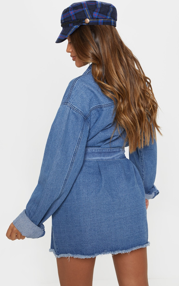 Mid Wash Tie Waist Denim Dress  2