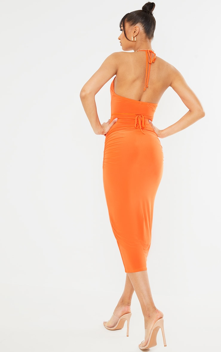 Orange Slinky Halterneck Cut Out Strappy Detail Midaxi Dress 2