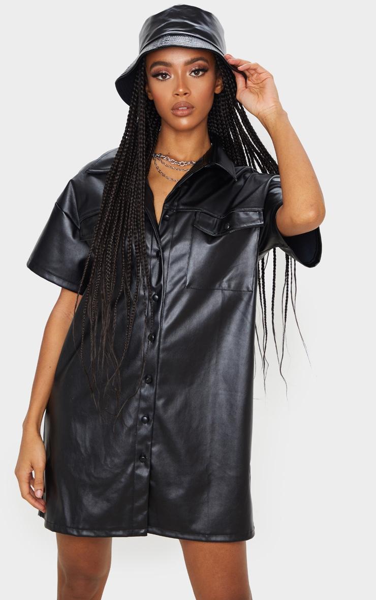 Black Faux Leather Short Sleeve Shirt Dress 1