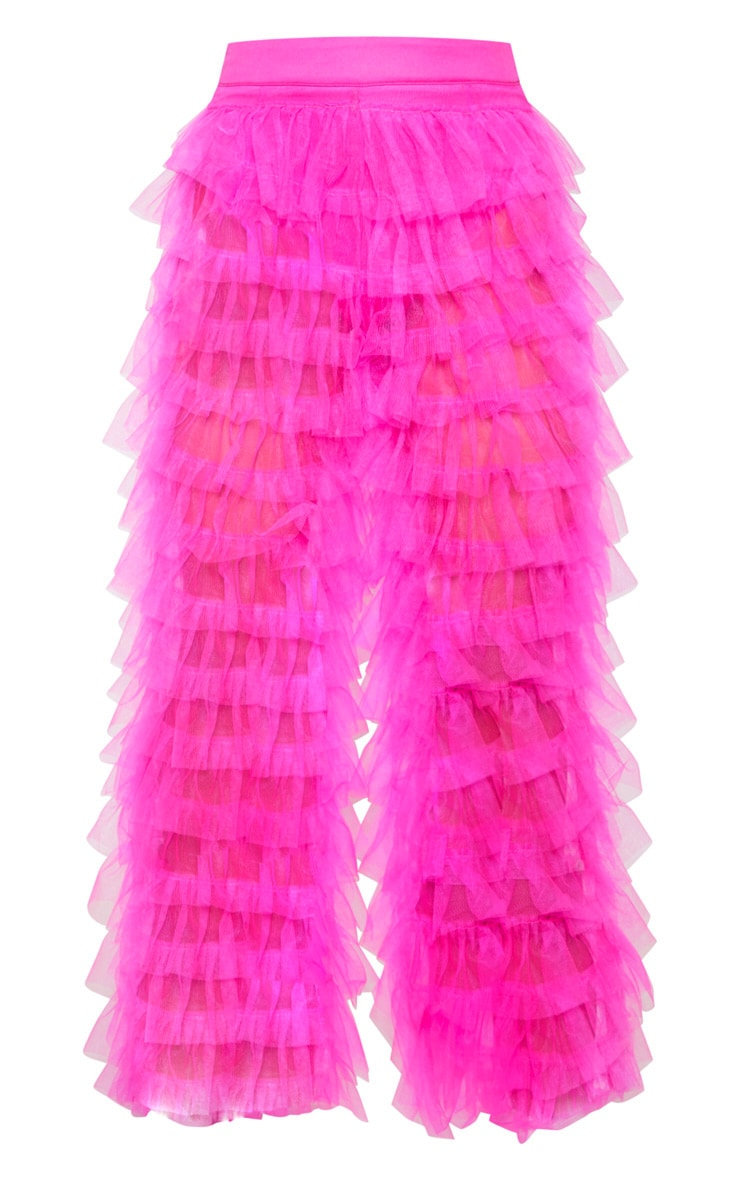 Bright Pink Ruffle Wide Leg Pants 4