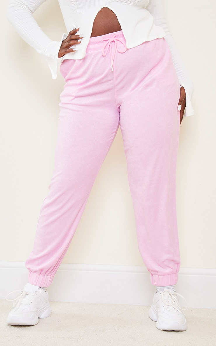 Plus Pink Towelling Joggers 2