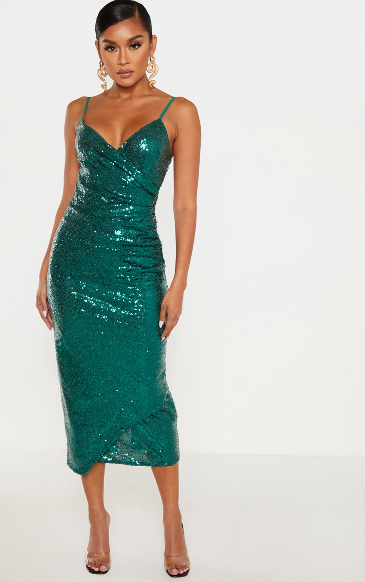 Emerald Green Sequin Wrap Over Midaxi Dress 1