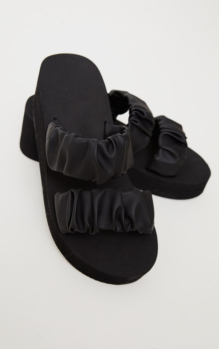 Black Ruffle Twin Strap Mule Wedges Sandals 4